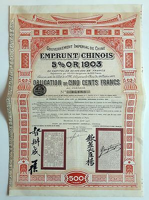 CHINA : Emprunt Chinoise- 5 % Or 1903 - 500 Francs -  1905