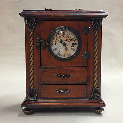 Stained Wooden Mantel Clock with Analog Quartz Movement
