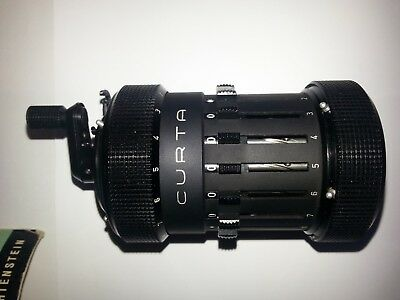 Curta Type I mechanical calculator in PERFECT WORKING ORDER w/metal can+manuals