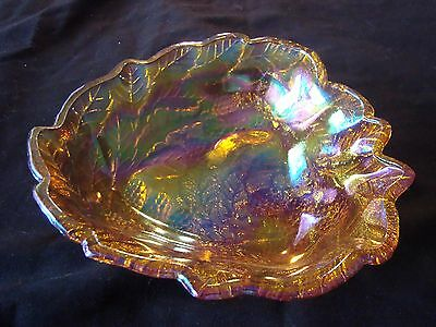 Beautiful VINTAGE Amber Iridescent CARNIVAL GLASS Dish. A Must See!
