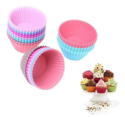 12pcs Silicone Cake Muffin bread Chocolate Cupcake Liner Baking Cup Cookie Mold
