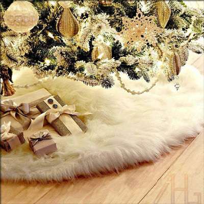 Long Plush Christmas Tree Skirt Base Floor Mat Cover XMAS Party Round Decor 90cm