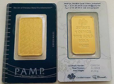 1 Troy Ounce Pamp Credit Suisse .9999 Gold Bar New Design In Assay Card