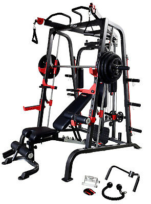 Smith Machine New Edition Model Inc FID Bench W/Preacher & Leg Extension Dips ++