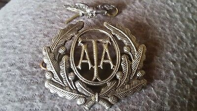 Rare Genuine Ww11 Tested Silver Two Piece Ata Air Transport Auxiliary Cap Badge