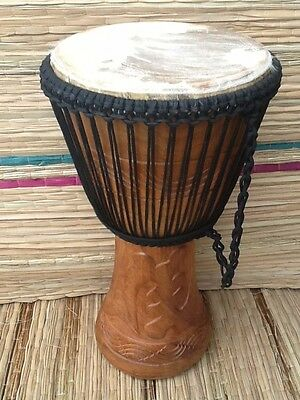 """Genuine African Professional 13"""" Djembe drum, free drum hat, 3 percussion pieces"""