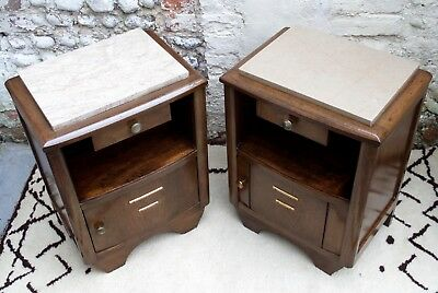 VINTAGE 50s 60s FRENCH BEDSIDE CABINETS Tables mid century retro wood marble