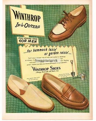 1947 WINTHROP Men's Shoes In-'n-Outers Loafers Slippers Vtg Print Ad