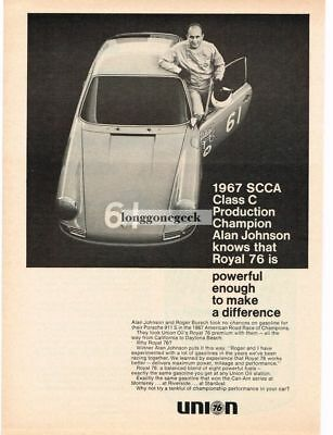 1968 Union Royal 76 Gasoline SCCA Champ Alan Johnson Vtg Print Ad