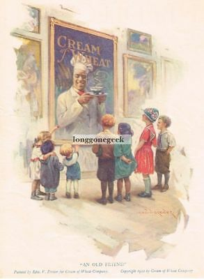 """1922 Cream Of Wheat Cereal """"An Old Friend"""" artist Edward V. Brewer Vtg Print Ad"""