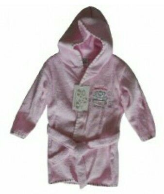 baby girls pink towelling hooded bath robe 6-12MONTHS