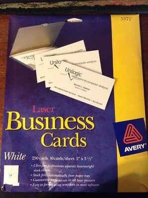 1~Avery 5371 Business Cards 250 Cards Per Pack. (White) Pk1
