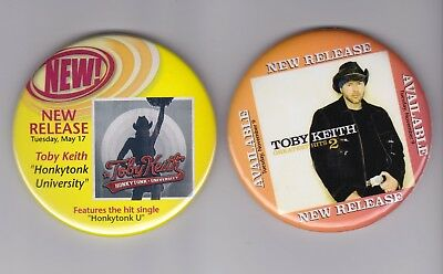 Toby Keith Set of 2 Promo Pinback Buttons 3' Full Color Excellent