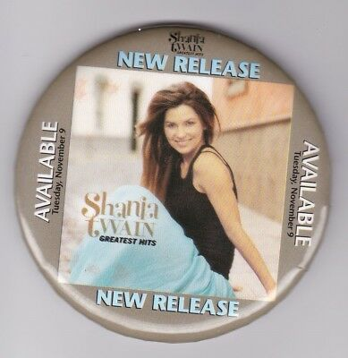 Shania Twain Retail Promo Pinback Button 3' Full Color Excellent
