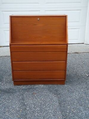 Mid Century Modern Danish Drop Front Teak Desk with Drawers Made in Denmark