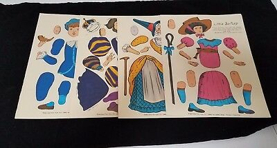 Mother Goose Paper Dolls Little Bo Peep Little Boy Blue Lot of 4