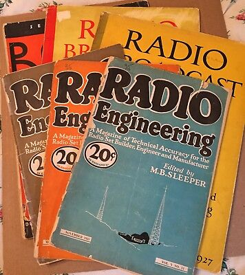 Lot Of Six (6) Vintage 1920S Vacuum Tube Radio Magazines Radio Broadcast