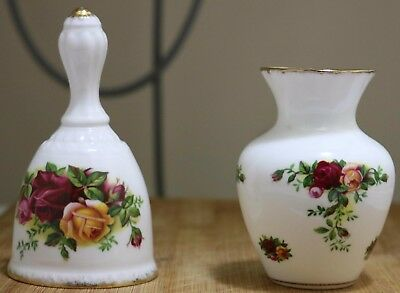 "Royal Albert Small Vase & Bell - ""Old Country Roses"" - Selling out as a bargain"