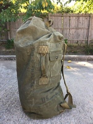 VINTAGE US MILITARY OD GREEN CANVAS US ARMY DUFFLE/DUFFEL BAG Pack