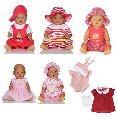 Dolls Clothes Fit 43cm 17'' Zapf Baby Born Doll Cute Jumpsuit Dress Hat Set