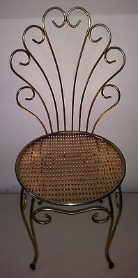 Vintage gold tone metal scroll back vanity bathroom powder chair stool seat