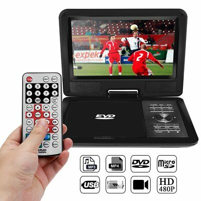 "11"" Portable DVD CD Game Player Lecteur 270° Swivel Screen Car Charger USB SD FR"