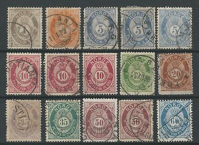 NORWAY o 1877/78 Shaded Posthorn +x+ Full Set incl 25 øre +x+ NK#22-31 Fine Used