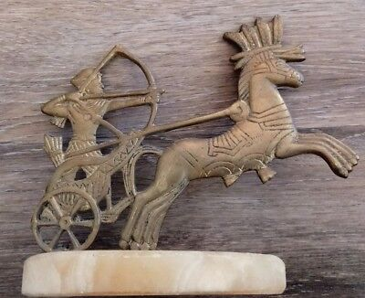 Antique Brass Roman Greek Chariot Of Male  & Horse on Marble Base Stand
