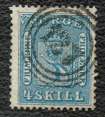 "NORWAY o 1863 Weapon 4 sk blue ""127"" (HORTEN) NK#8 Very Fine"