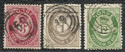 "NORWAY o 1872/78 3 sk ""169"" + Shaded 1 & 12 øre ""19"" NK#18, 22, 26 Very Fine"
