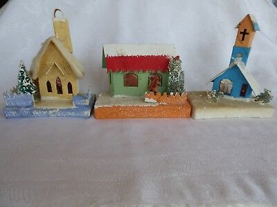3 Large Vintage Cardboard Christmas Putz Houses Church Sponge Trees Santa