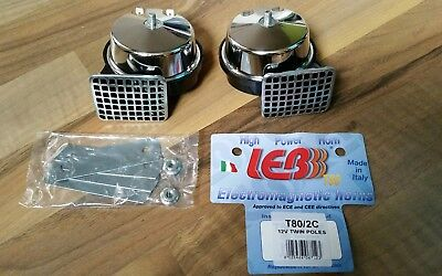 LEB Made in Italy Dual Hupe NEU T80/2C laut Chrom Hupen Horn Twin Poles