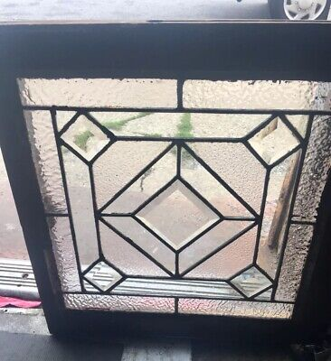 Rare Old American Heavy Beveled 5 Diamond Geometric Leaded Window. Special