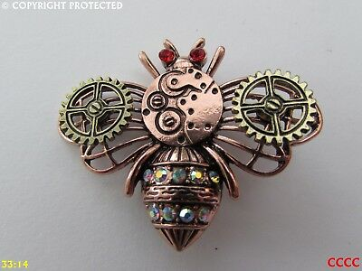 new steampunk brooch badge pin copper rosegold bee gearwheel cog mechanical
