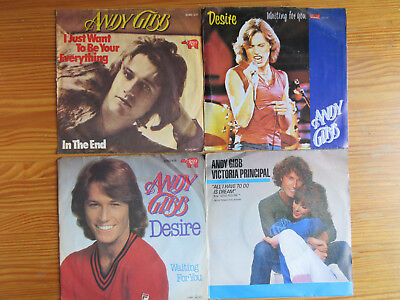 "7"" ANDY GIBB (BEE GEES BROTHER) : 4 x SINGLES SAMMLUNG + Victoria Principal"