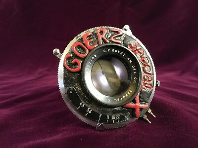 "Goerz Special X   5 1/2"" 135mm f/4.5 in custom commemorative shutter"