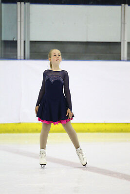 Bespoke Cara Couture Navy Blue & Fuschia Ice Skating Dress with AB Crystals