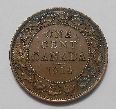 1914 Large Cent VF-EF ** SCARCE Date HIGH Grade Early King George V Canada Penny