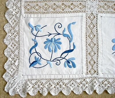 Vintage Large Embroidered Linen Tablecloth With Crochet Lace Edging And Inserts