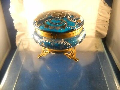 Antique Hand Painted Teal Blue Glass Brass Footed Powder Box Ormolu Moser?