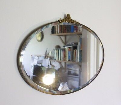 Distressed Art Deco Wall Mirror, Metal Frame, Bevel Edged, Vintage 1930s Oval
