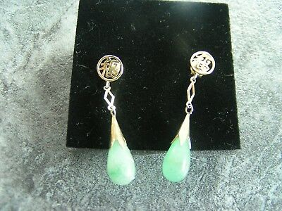 vintage? one pair of earrings unmarked with green jade? stone
