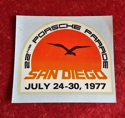 Original Porsche Parade San Diego 1977 Window Sticker
