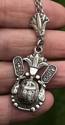 Antique Vintage Egyptian Sterling Silver Lotus/scarab Beetle Pendant Necklace