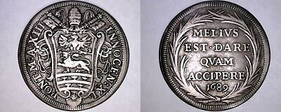 1689-XIII Italian States Papal States 1 Testone World Silver Coin - Innocent XI