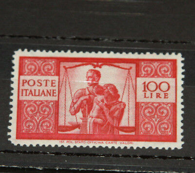 Italy - 1945 Work Justice & Family - Superb U/mint 100 Lira Red