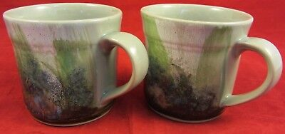 Highland Stoneware Mugs x 2.  Hand Painted Forest Scene. VGC.
