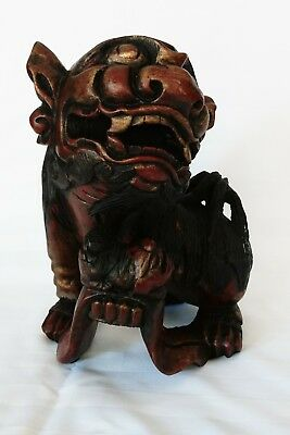 Antique Chinese Oriental Hand Carved Wooden Shi Foo Dog Statue 12 in. Tall