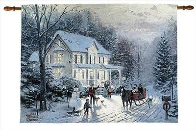 Thomas Kinkade New HOME FOR THE HOLIDAYS Fiber Optic Tapestry Wall Hanging