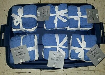 6 Sets of Washcloths with 10 in each Pack Blue and White by Rittenhouse